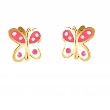 Pendientes Niña Oro y Esmalte Rosa-Blanco Mariposa 69AP 73/RB