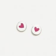Pendientes Plata y Esmalte de Corazón Rosa Agatha Ruiz de la Prada 015NIC