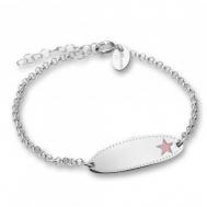 Pulsera Esclava Plata Rodiada de Niña Estrella Rosa 04A.ES.ES