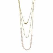 Collar Plata Chapada Triple Perlas Pequeñas de Agua Dulce Salvatore 164C0025