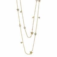Collar Plata Chapada Doble Estrellas y Circonitas Salvatore 164C0028