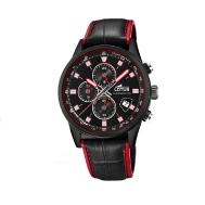 Reloj Lotus Caballero Correa de Piel Negro y Rojo 18589/4