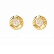 Pendientes Niña Oro Circonita Bisel Redondo Tallado 1A 1803/3T