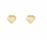 Pendientes Niña Oro Circonita Corazón Tallado 1A 2171/2T