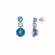 Pendientes Plata Rodio Circonitas Azul y Blanca Salvatore 225A0048