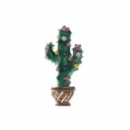 Broche Alta Bisutería Metal Chapado Cactus Verde y Naranja Piedras Multicolor Salvatore 226BM081