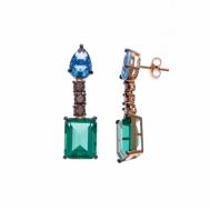 Pendientes Plata Chapada Cobriza Circonitas Verde, Azul y Rosa Salvatore 234A0038