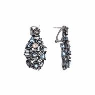 Pendientes Plata Rodio Óvalo Con Formas Geómetricas Cristales Azules, Melocotón y Blancas Bajo Rutenio Salvatore 240A0010