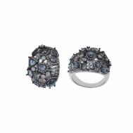 Sortija Plata Rodio Cristales Azules, Melocotón y Circonitas Blancas Bajo Chapado de Rutenio Salvatore 240S0008