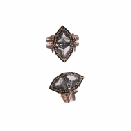 Sortija Plata Chapada Cobriza Cristales Grises Pavé Lavanda Bajo Rutenio Salvatore 252S0001