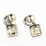 Pendientes Plata Oro y Cuarzo Golden Gabriela Styliano BSP1096
