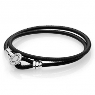 Pulsera Pandora Moments Cuero Doble Negro 597194CBK
