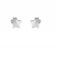 Pendientes Niña Oro Blanco 2 Estrellas Brillo-Mate 5B 6001/M
