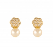 Pendientes Niña Oro Perla y Flor Circonitas 7A 7551/1Y