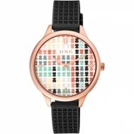 Reloj Tous Señora Tartan Multicolor de Acero Chapado Cobrizo Con Correa de Silicona Negra 900350135