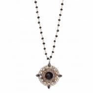 Collar Plata Chapada Rosa Onix y Circonitas Amarillas Sunfield CL060485