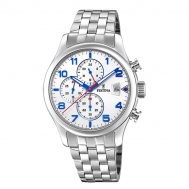 Reloj Festina Caballero Acero Esfera Gris-Azul Crono F20374/4