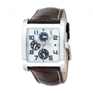 Reloj festina cro. acero correa marron esfera blanca apliques negros f16235/g