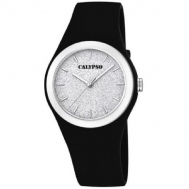 Reloj Calypso Señora Caucho Negro Esfera Purpurina K5752/6