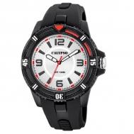 Reloj Calypso Caballero Caucho Negro Esfera Plata Roja K5759/1